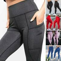 Women Pockets Leggings High Waisted Yoga Pants Slim Fit Gym Running Trousers US
