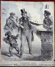 A. DARJOU Le CHARIVARI Caricatures Humour XIXe Les Hirondelles d'Hiver