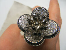 black cocktail ring/cubic zirconia/O-O1/2/CHANEL esque/fine pave work,