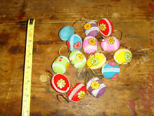 Lot of vintage retro hippy bright color 1.5 Easter Eggs decorations daisy flower