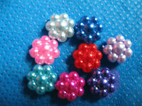 """80 Pearly Flower 3/8"""" Top/plastic/accent-8 Colors S014-1"""