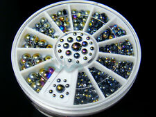 5 Sizes Black AB Flat Back Pearl Stone Nail Rhinestone Decoration+Wheel #S128