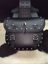 Black Leather Standard Saddle Bags w/ Studs & Concho Harley Indian