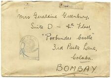 India WW2 cover with naval censor canc by a very late use of the QV B-1 numeral