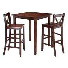 Winsome Kingsgate 3-Pc Dining Table w/2 Bar V-Back Chairs 94378 Dining Set New