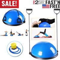"23"" Yoga Half Ball Exercise Trainer Fitness Balance Strength Gym w/Pump Blue New"