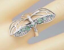 Anelli di lusso con gemme verde smeraldo, misura anello 17
