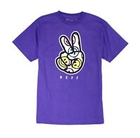 Neff Mens T-Shirt Purple Size Medium M Happy Peace Print Crewneck Tee 238