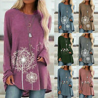 Womens Long Sleeve Pullover T-shirt Casual Loose Tunic Tops Jumper Floral Blouse