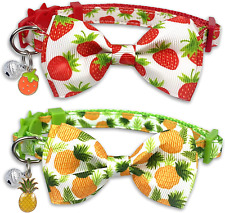 New listing Pohshido 2 Pack Cat Collar with Bow Tie and Bell, Kitty Kitten Spring/Summer Pin