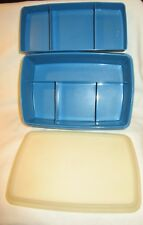 Blue TUPPERWARE CONTAINER Food Crafts Hobby Divided Organizer STOW-N-GO