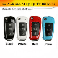 ABS Remote Flip Key Fob Cover Case Shell Fit for Audi A6L A1 Q3 Q7 TT R8 A3 S3