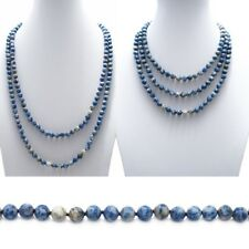 "Genuine Sodalite 60"" Long 9mm Bead Stranded Necklace"