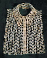 Stunning Hand Crochet - Tatted Collar Pristine Covered Buttons Excellent!