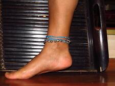 Fußkettchen Fußschmuck Schwarz Lila Natursteinchen Fußbändchen Glöckchen Damen