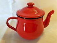 Red Enamelware Tin Single Serve Vintage Teapot