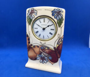 Vintage Moorcroft Mantle Clock Butterfly Butterflies Sally Tuffin 1st Quality