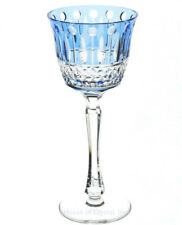 """Faberge Xenia Azure Light Blue Cut to Clear Crystal Wine Goblet New Signed 8.25"""""""