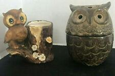 Owl Votive Candle Holder & Owl Toothpick Holder Made In Japan Vintage Excellent
