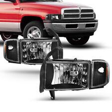 94-01 Dodge Ram 1500 2500 3500 Black Housing Clear Headlight+Corner Signal Lamp
