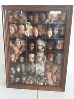 Framed Window Shadow Box with Vintage Doll Head Lot, Barbie, Cher, Farrah, Dusty