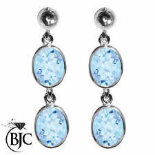 Topaz Drop/Dangle Oval Sterling Silver Fine Earrings