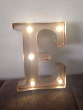 "Hand painted Vintage Rustic Metal Letter ""E"" Light Sign, Wedding Decor"