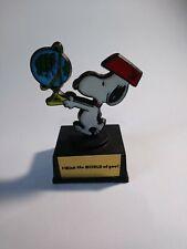 Peanuts Snoopy Globe Trophy Vintage 1970's Aviva I Think The World Of You