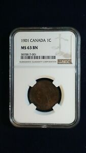 1901 Canada LARGE Cent NGC MS63 BN 1C Coin PRICED TO SELL RIGHT NOW!