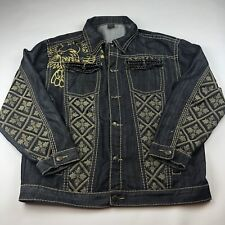 Men's 3XL Royal Army Button Up Jean Jacket Embroidered Glitter Cross Fabric