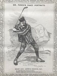 ARTHUR BALFOUR GOLFER IRISH SECRETARY Engraving 1889 Antique Print GOLF