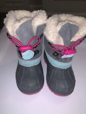 CAT AND JACK  GREY LETHA SNOW BOOTS THERMOLITE GENUINE SUEDE- Size 5/6
