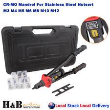 Nutsert Tool Kit Rivnut Rivet Nut Gun Mandrels M3 to M12 Carry Case 410mm handle