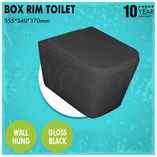 555*340*370mm Wall Hung Toilet Gloss Black Pan Box Rim Flush Down for Bathroom