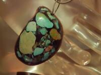 WOW WOW OOAK Vintage 70's Handmade Work Art Turquoise Sterling Necklace 128AG9