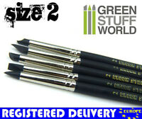 Silicone Brush #2 - BLACK FIRM - 5pcs - Color Shaper Clay Sculpting Green Stuff