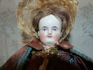 """16"""" Alt Beck G Antique Biedermeier Bald China Head Doll/Bonnet  orig wig/dress"""