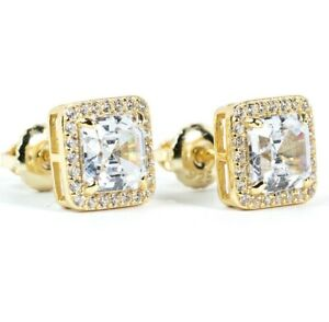 Mens Small 14K Gold Square Emerald Cut Hip Hop Iced Cz Screw Back Stud Earrings