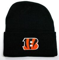 READ LISTING! Cincinnati Bengals HEAT Applied Flat Logo on Beanie Knit Cap hat