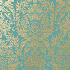 Signature Teal and Gold Damask Wallpaper by Crown Floral Leaf Feature M1064