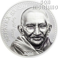 MAHATMA GANDHI - 1 oz Silver High Relief Proof Coin in Box + COA - 2020 Mongolia