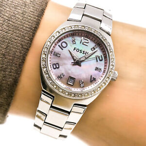 Fossil Womans Watch AM4175 Mother Pearl Date Dial Stainless Crystals 100m Works