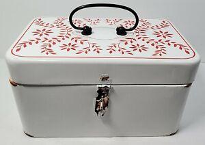 White Metallic Wedding Lockable Card Box Graduation Red Floral Pattern & Handle