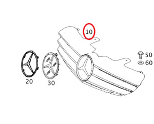 New Genuine Mercedes-Benz Front Bumper Grille Assembly OE 21688000839776