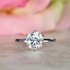 Ring 14K White Gold Finish 2.00Ct Round Forever Moissanite Solitaire Engagement