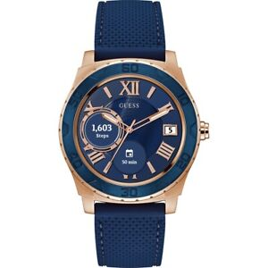 NEW GUESS Connect Men's Blue Silicone Strap Touchscreen Smart Watch