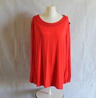 Ava & Viv Womens Plus 3X 4X Top Orange Lace Scoop Neck Long Blouson Sleeve
