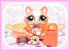 ❤️Authentic Littlest Pet Shop LPS #1868 Crouching Cat SPHYNX Baby Kitten & Bed❤️