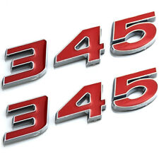 2pcs 345 Emblems Badge Decal Sticker Compatible with Nameplate New Universal Cars Chrome Red