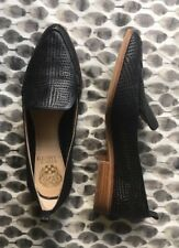 "Vince Camuto ""KADE"" Black Slip-On Perforated Leather Block Heel Oxford Sz 7.5M"